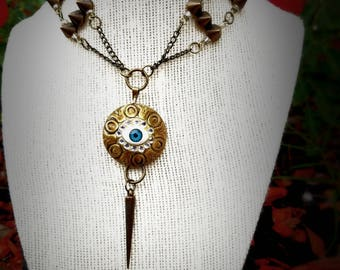 Eye Amulet Choker, All seeing eye, Spikes, Grunge, Occult, Witchy, Weird, Unusual