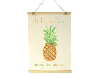 Illustration printed on fine art paper - watercolor frame 30 x 42 cm - positive phrases - frame sticks + string - made hand