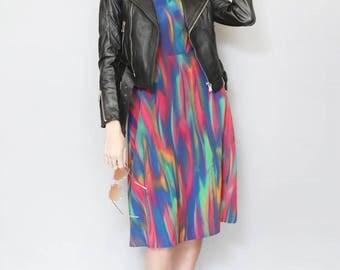 Vintage 1990's Multi Coloured Watercolour Midi Slip Dress
