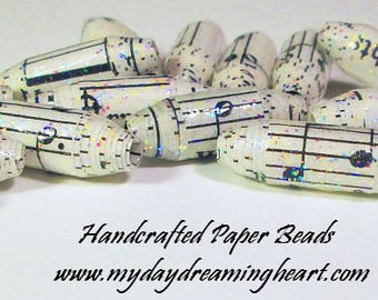 15 Loose Handmade Tube Paper Beads Musical Notes Glitter Sheet Music White Black Lot Jewelry Necklace Bracelet Craft Supplies Made In Maine