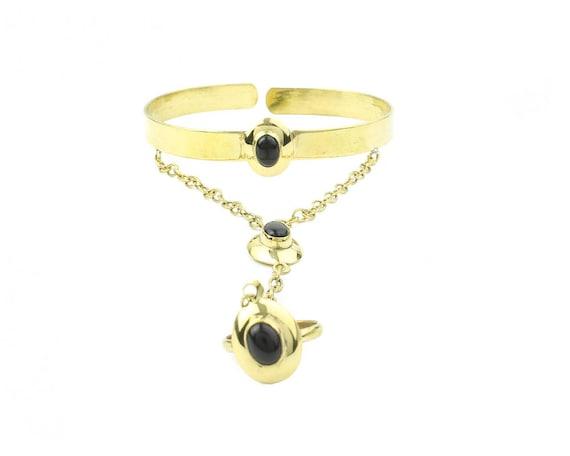 Black Moon Slave Bracelet, Black Onyx Hand Chain, Ring Connected to Bracelet, Festival Jewelry, Gypsy Jewelry, Boho