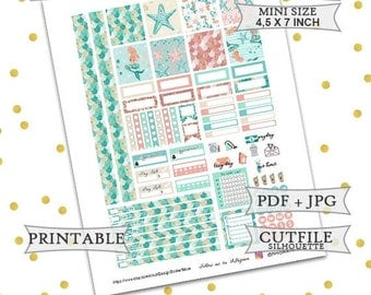 50% OFF SALE Be a mermaid planner stickers/Mini Happy Planner Stickers/Printable Planner Stickers/Printable weekly kit/Summer Planner Sticke