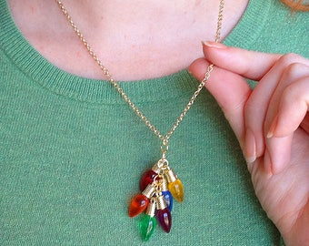 christmas lights necklace, christmas bulb necklace, holiday lights necklace, holiday jewelry, christmas necklace lights, ugly sweater party