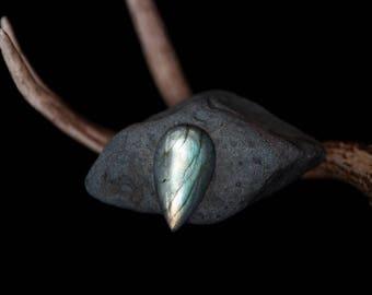 Large Pear Labradorite Cabochon // 109 carats // teardrop, green and blue hues, magical and iridescent // 35