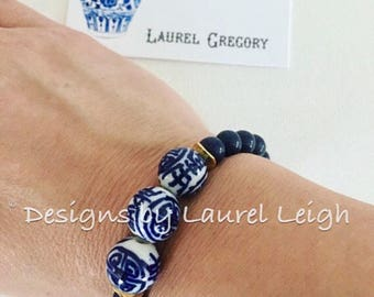 NAVY BLUE Jade Beaded Bracelet | chinoiserie, beaded, gemstone, navy, stretchy, porcelain, blue and white
