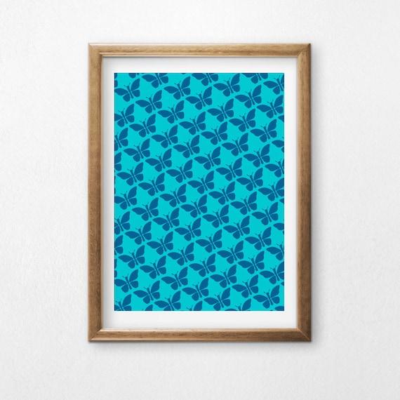Printable Art, Butterflies, Blue and Aqua, Pattern, Modern Art, Minimalist Art, Art Printable, Home Decor, Digital Download Print