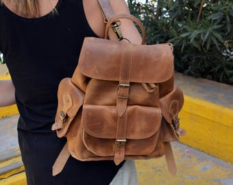 Distressed Leather Backpack, Waxed Brown Leather Backpack, Rustic Light Brown Large Backpack, Handcrafted in Greece, 5 colors