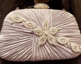 Pastel grey satin vintage inspired evening bag
