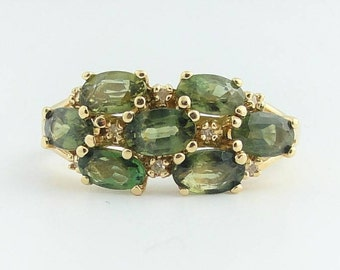 Antique Stacked Peridot Ring- 14k Yellow Gold