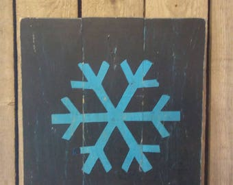Snowflake Wood Sign - Hand crafted