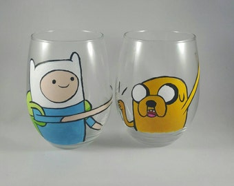 Adventure Time inspired hand-painted wine glasses