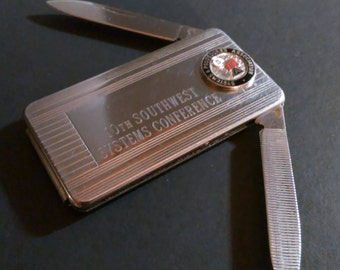 Vintage Imperial USA money clip pocket knife nail file advertising SPA - Systems & Procedures Association Imperial stainless USA