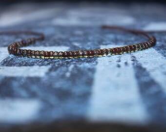 Thin Bracelet for Men - Mens brown bead bracelet - Wish Bracelet - Brown String, Mens gift for him Husband Gift , Mens Seed Bead