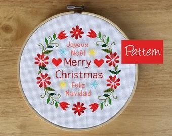 Merry Christmas Cross Stitch PDF -  Modern Feliz Navidad, Joyeux Noel, X-mas Cross Stitch, Counted Cross Stitch Pattern - PDF