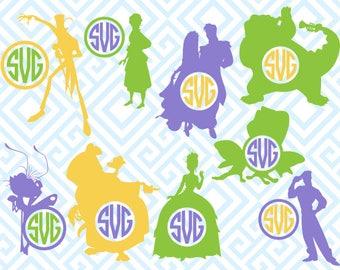 The Princess and the Frog Monogram, Digital Cutting Files, Svg Files for Silhouette, Cricut, Disney SVG, Princess Monogram Frame, 27luna