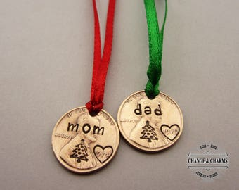 Mom Penny Ornament, Dad Ornament, Mom Ornament, Gift Tag, Christmas Tags, Christmas Gift, Stocking Stuffer, Custom Gift, Ornament, Christmas