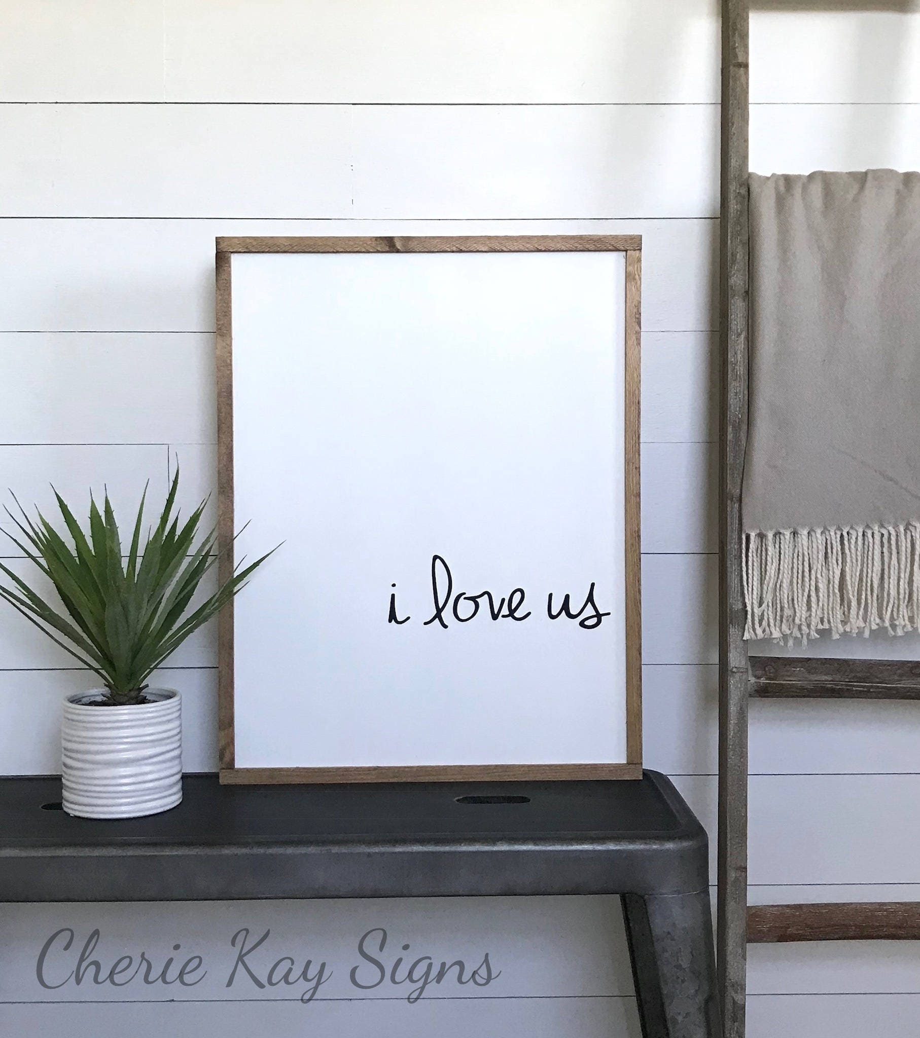 Bedroom sign i love us wood sign farmhouse wall decor zoom amipublicfo Gallery