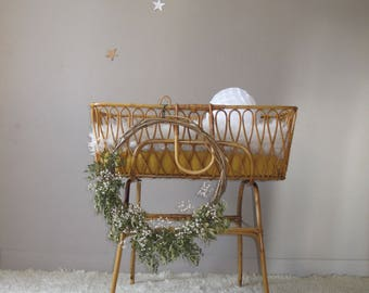 Vintage rattan wicker French basket baby bassinet, Cot, vintage, rattan furniture