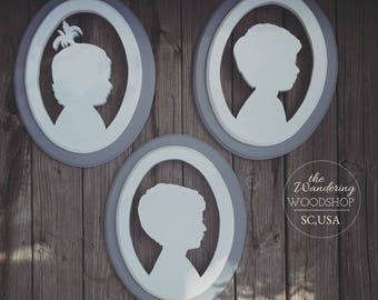 Wood Hand Cut Painted Children Double-Layer Silhouette