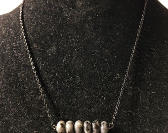 Labradorite, black chain, pendant necklace