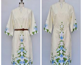 floral embroidered hippie boho wedding dress / medium large