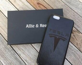 Laser Etched Tesla Motors Genuine Leather iPhone Case