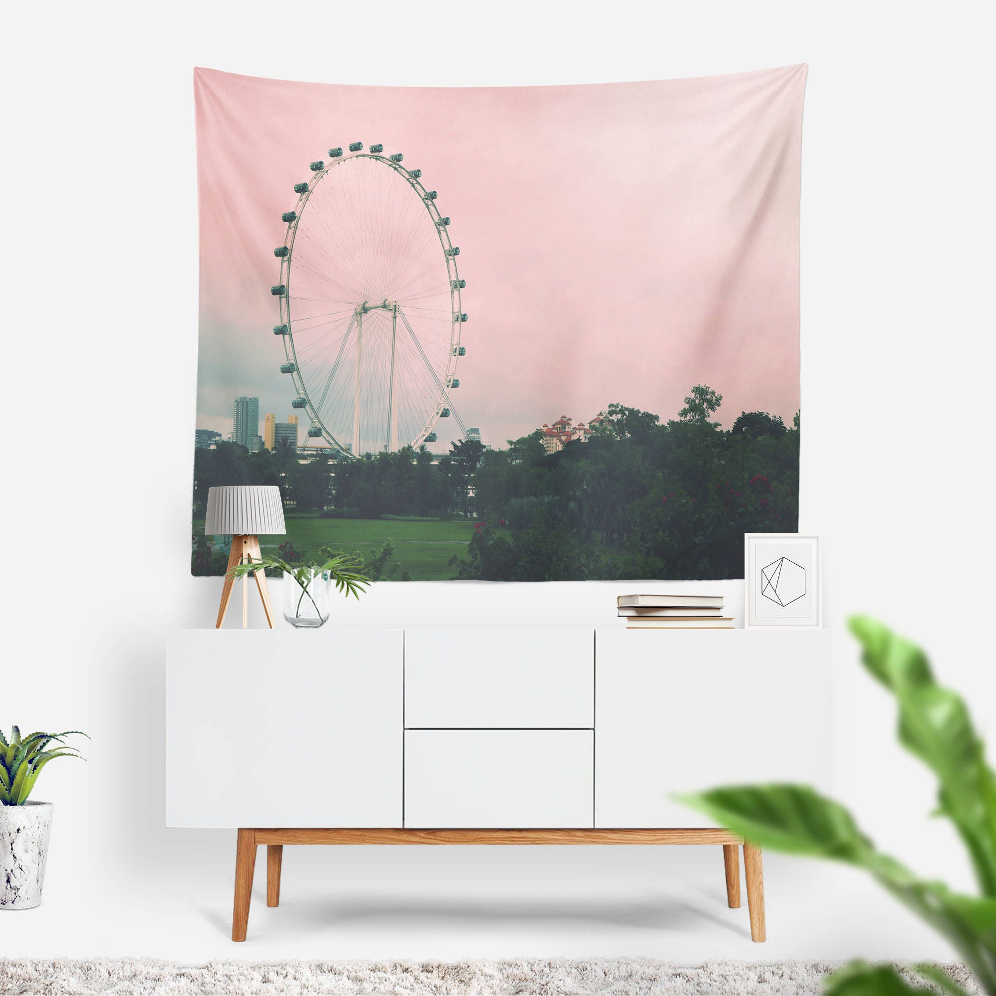 Ferris Wheel Wall Tapestry Wall Hanging Carnival Wall Tapestry