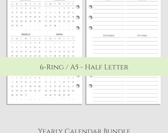 "Yearly Calendar Bundle ~ 2017 and 2018 Year-at-a-Glance & Important Dates to Remember ~ Half Page / A5 / 5.5"" x 8.5"" for Filofax (A5-YCB)"