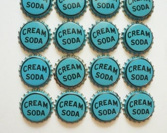 Vintage Soda Caps Cork Lined Aqua Blue Pop Caps Jewelry Charms Craft Supplies by VintageReinvented