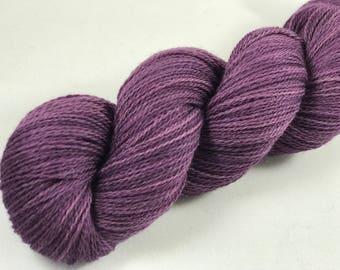 "Hand Dyed Merino Lace Yarn ""Eggplant"""