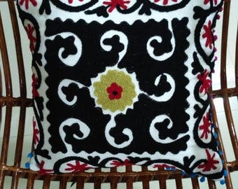 Cotton Suzani Cushion covers, hand made embroidered cushion covers, Turkish decor, colorful pillow cases, home decor