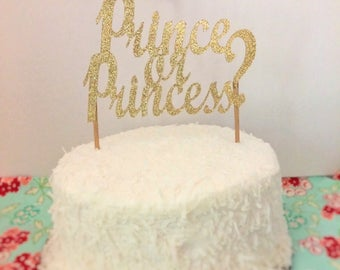 Prince or princess cake topper prince or princess gender reveal cake topper glitter princess or prince