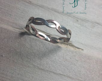 Silver and Copper twisted wire ring