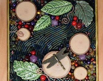 Beaded Mosaic Box ~ Mixed Media Mosaic box ~ Dragonfly mosaic ~ Keepsake box ~ gift for dragonfly lovers ~ wooden box