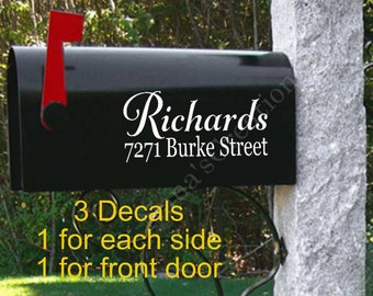 Mailbox Decals-Personalized Mailbox-Set of 3 Mailbox Decals-Name Mailbox Decals-Street Address Decal-Mailbox Decals-Mailbox Vinyl Decals