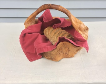 Burl wood basket bowl, hand carved, artisanal, mantique, rustic, hand crafted, hand made,