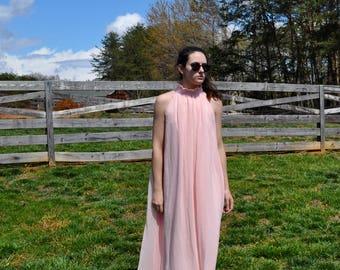 Pink Chiffon Maxi Dress Night Gown Free Size