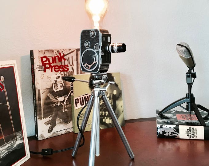 Unique Retro Camera lamp . Vintage  Paillard L8 8mm movie camera lamp with tripod . Original gift idea. Great for a photographer.