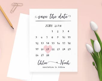Save the Date Cards, Calendar Save the Date Card, Wedding Announcement, Rustic Save the Date, Digital File or Printed