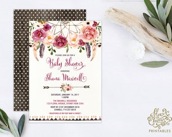 Bohemian Baby Shower Invitation. Boho Baby Shower Invite. Watercolor Flowers. Dreamcatcher. Engagement High Tea Garden Party. FLO13