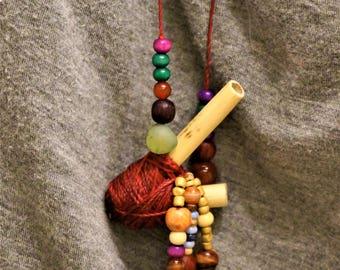 Sacred Heart Kuripe Snuff Applicator Mapacho Rapeh Necklace