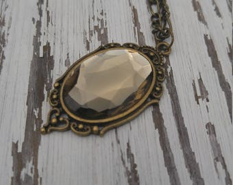 Czech Glass Black Diamond Pendant Necklace