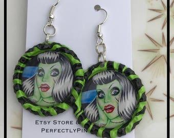 Zombie Pinup Green and Black Bottle cap Dangle Earrings Rockabilly