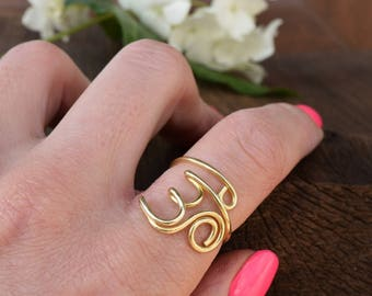 OM Ring, AUM Ring, Mantra, Joga, Silver Ring, Silver Band Ring, Symbol Ring Brass Wire Ring, Thumb Ring, Whitemouse