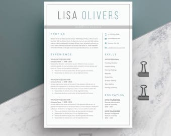 Resume Template 4 page | CV Template + Cover Letter for MS Word | Instant Digital Download | 'Lisa'