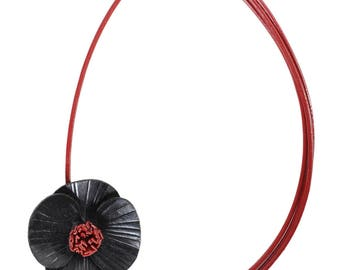 Choker necklace black poppy leather full grain cowhide red leather cords