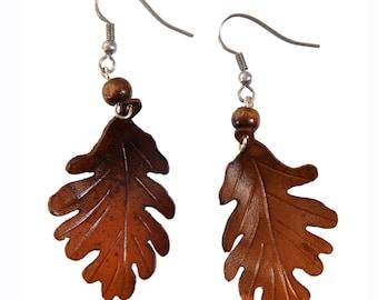 leaf earrings oak leather flower