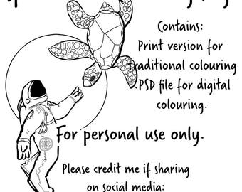 Space Turtle Colouring Page