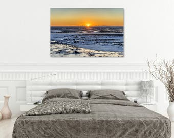 ICELAND SERIES - Large Metal, Canvas or Print - Sunset Snow Ice Islands Ocean - Wall Art
