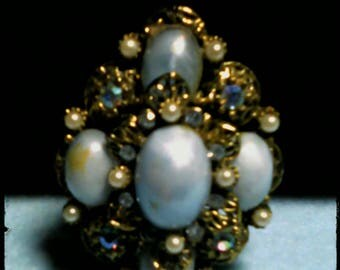 Pale Blue and Gold  Vintage Pin